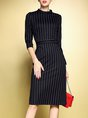 Black Sheath Casual Printed Striped Midi Dress