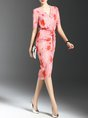 Pink Bodycon Short Sleeve Vintage Floral Statement Midi Dress