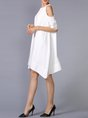 Cold Shoulder White A-line Daytime Casual Half Sleeve Asymmetric Midi Dress