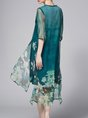 Crew Neck Green Midi Dress A-line Casual Silk Floral-print Floral Dress