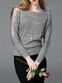 Plus Size Basic Long Sleeve Solid Paneled Knitted Sweater