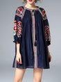 Floral-embroidered Shirred Casual Mini Dress
