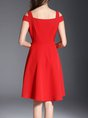 Cold Shoulder Red Party Short Sleeve Elegant Solid Midi Dress