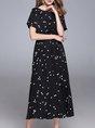 Black A-line Short Sleeve Casual Printed Polka Dots Midi Dress