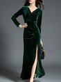 Shimmer Surplice Neck Long Sleeve Velvet Maxi Dresses