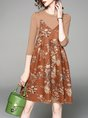 Brown Crew Neck Printed Casual Floral Dress With Top