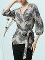 Gray V neck Folds Elegant Floral 3/4 Sleeve Top