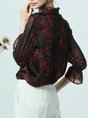 Burgundy Stand Collar Ruffled 3/4 Sleeve Blouse