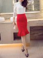 Red Ruffled Solid Elegant Mermaid  Midi Skirt