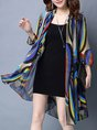 Casual Asymmetric Daytime Knitted Printed Cardigan