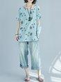 Crew Neck Light blue Linen Top Shift Short Sleeve Casual Floral Linen Cloth