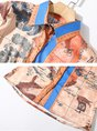 Shirt Collar Caramel Blouse Shift Long Sleeve Casual Printed Graphic Top