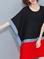 Black-red Linen Dress Shift Cape Sleeve Color-block Dress