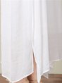 White Daily Sleeveless Casual Cotton Slit Solid Linen Dress