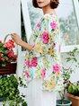 Shift Asymmetric Casual Half Sleeve Floral Linen Top