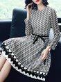 Black-white A-line Long Sleeve Guipure lace  Midi Dress