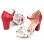 Floral Print Platform Buckle Chunky Sandals