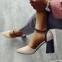 Chunky Heel  Buckle Suede Heels
