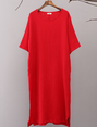 Shift Daily Short Sleeve Cotton Pockets Solid Linen Dress