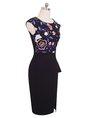 Black Bodycon Sleeveless Work Embroidered Floral Midi Dress