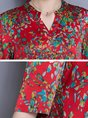 Red Floral V Neck Casual Printed Tunics