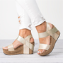 Double Straps Daily PU Peep Toe Wedge Sandals
