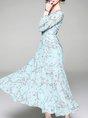 Blue Maxi Dress Date Holiday Floral Dress