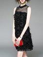 Black Shift Party Sleeveless Bow Plain Midi Dress