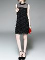 Black Shift Party Sleeveless Bow Plain Evening Midi Dress