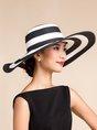 Broad Brim Striped Elegant Holiday Summer Straw Hat
