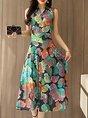Surplice Neck  Swing Date Sleeveless Holiday Wrap Floral Midi Dress