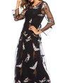 Black  Party Long Sleeve Animal Maxi Dress