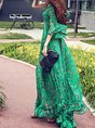V neck Green Date Bell Sleeve Holiday Printed Maxi Dress