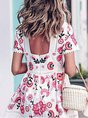 Multicolor Date Short Sleeve Holiday Printed Floral Midi Dress