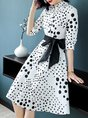 Shirt Collar White Date Polka Dots Midi Dress