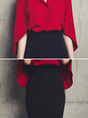 OL Cape Sleeve Elegant Two Piece Shirt Collar Two Piece Outfits