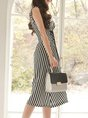 Black-white A-line Date Elegant Sleeveless Lace up Midi Dress