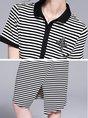 Shirt Collar Black-white Asymmetrical Daytime Short Sleeve Asymmetric Midi Dress