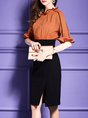 Ruffled  Sheath Date Frill Sleeve Elegant Slit  Midi Dress