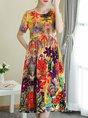 Multicolor Midi Dress A-line Date Short Sleeve Printed Dress