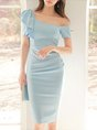 One Shoulder Ruffled Elegant Midi Dress