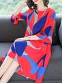 Shift Daytime Frill Sleeve Printed Abstract Midi Dress