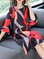 Shift Daytime Frill Sleeve Printed Abstract Midi Dress