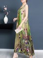 Green  Sleeveless Cotton Casual Printed Maxi Dress