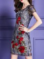 V neck Gray Date Work Embroidered Floral Cocktail Sheath Midi Dress