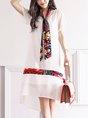 Midi Dress Shift Daytime Chiffon Paneled Dress