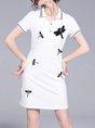 Shirt Collar  Sheath Date Cotton-blend Short Sleeve Embroidered Midi Dress