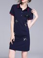 Shirt Collar Sheath Date Short Sleeve Embroidered Mini Dress