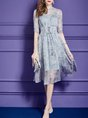 Blue Swing Date Elegant Half Sleeve Lace up Floral Party Midi Dress