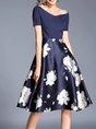 Navy Blue Short Sleeve Elegant Floral Party Midi Dress